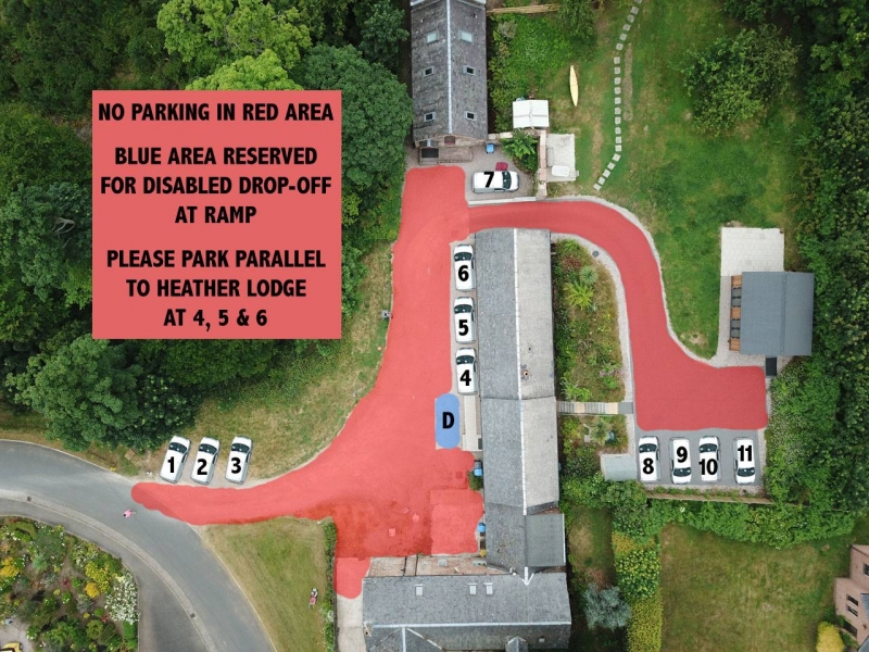 NO PARKING IN RED AREA